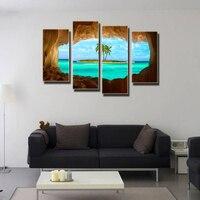 ים כחול עץ קוקוס ללא מסגרת ציור בד מודפס על קנבס וול אמנות תמונה לסלון