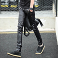 New Arrival Men's Skinny Leather Pants Faux Leather Stitching Elasticity Sweatpants Jeans Free Shipping 683