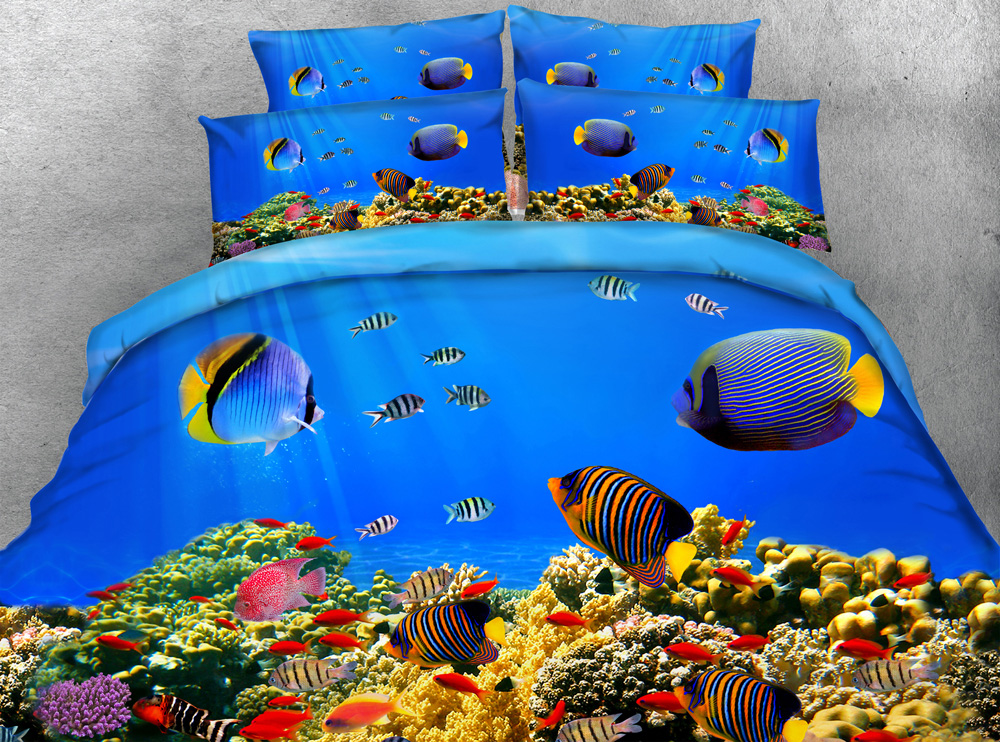 3pcs Colorful Deep ocean fish print duvet cover set Clown fish bedding sets gift for kids single Full Queen King size-in Bedding Sets from Home & Garden    2