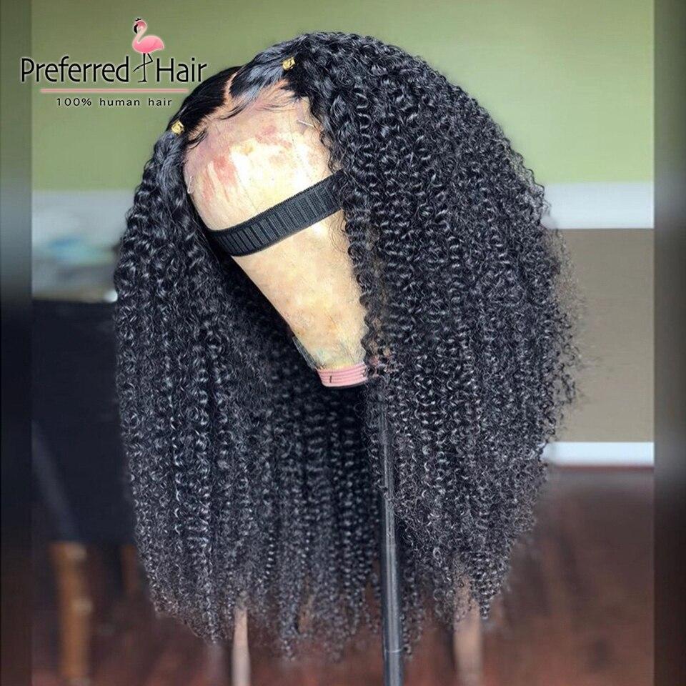 Предпочтительный бразильский Реми 13x6 Синтетические волосы на кружеве парик с детскими волосами парик из бразильских курчавых, желтый Цвет прозрачные кружевные парики для Для женщин - 4