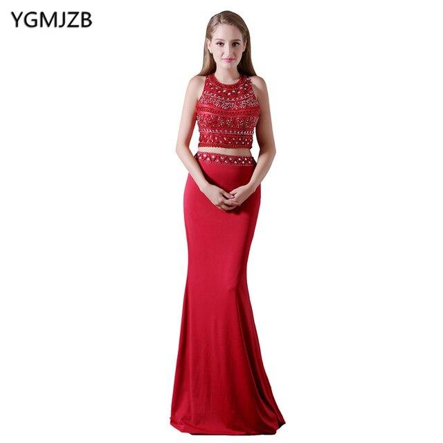 Sparkly Long Evening Dresses 2018 Mermaid O Neck Sleeveless Beaded ...