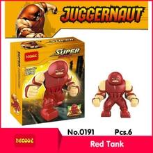 Decool 0191 6Pcs Avenger Allianc Series Red Tank Model Building Diamond Blocks Bricks Set Action Figure Toys with Children Toys