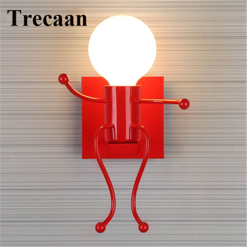 Trecaan Modern LED Wall Light Fixtures Creative Cartoon Little People Mini Wall Sconces Lighting Iron Wall Lamp For Home Hotel modern led wall lamp metal wood wall light fixtures home lighting e27 led bedroom bedside decoration wall sconces