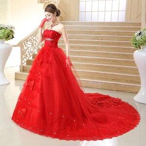 Image 4 - יפה בציר תחרה אדום חתונת שמלות 2020 ארוך רכבת בתוספת גודל vestidos דה noiva robe de mariage כלה שמלת כדור שמלת