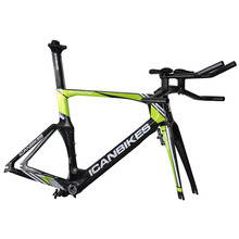 ICAN Professional Green Color Painting Time Trial Bike Frameset BB86/Di2 with Brake Sets and TT Bar Glossy Finish