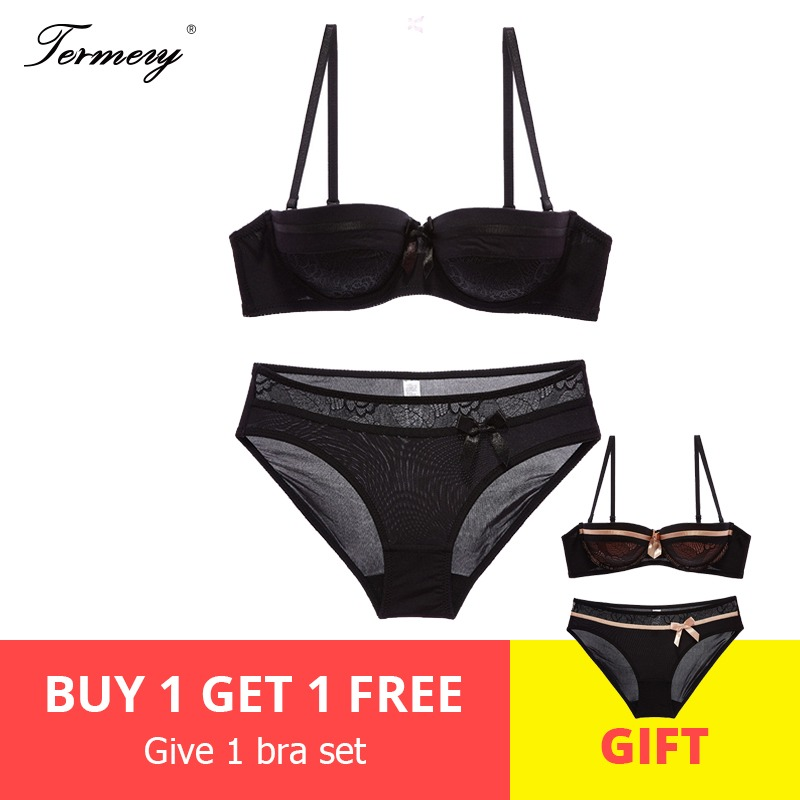 TERMEZY NEW Sexy Lingerie   Set   women underwear   set   Half Cup(1/2 Cup)   Bra   Underwire   Bras   Demi Intimates Push Up   Bra     Set