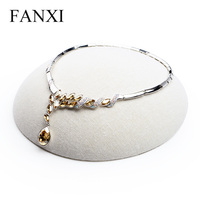 FANXI Free Shipping Concise Necklace Bracelet Holder Stand Beige Linen Jewelry Display Stand Shop Decoration Exhibitor