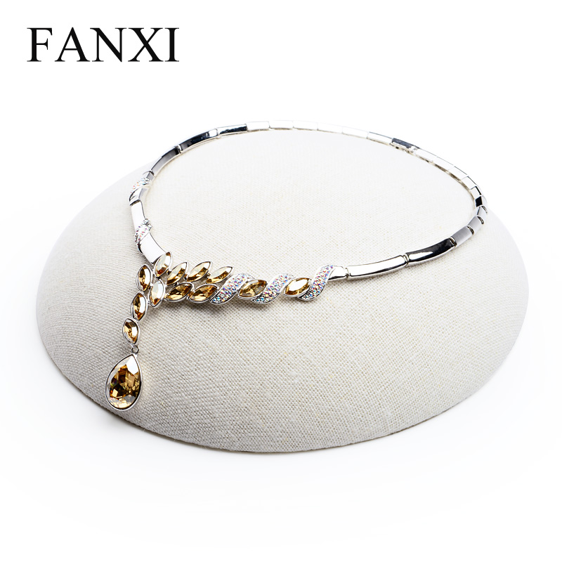 FANXI Concise Necklace Bracelet Holder Stand Beige Linen Jewelry Display Stand Shop Decoration Exhibitor