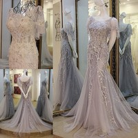 Sexy Mermaid Lace Flowers Evening Dresses Robe De Soiree Women Party Evening Long Gown High Quality