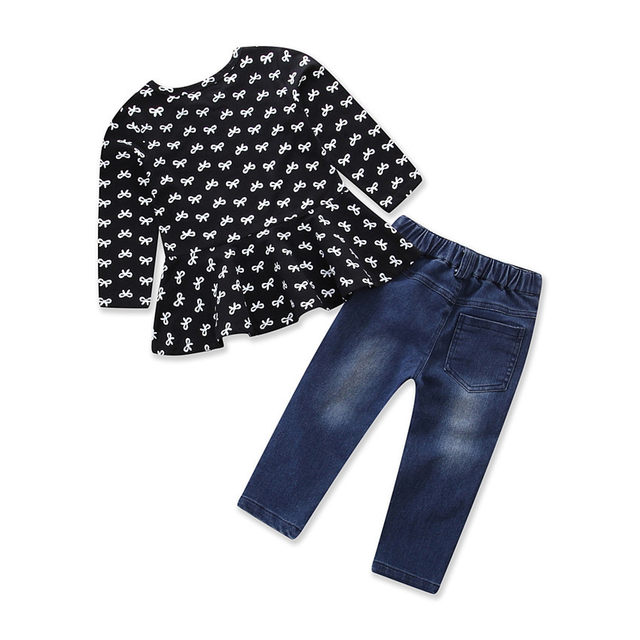 a4f342b56e4 Online Shop 3Pcs Baby Girls Sets Fashion Hole Jeans 100% Cotton hair ...