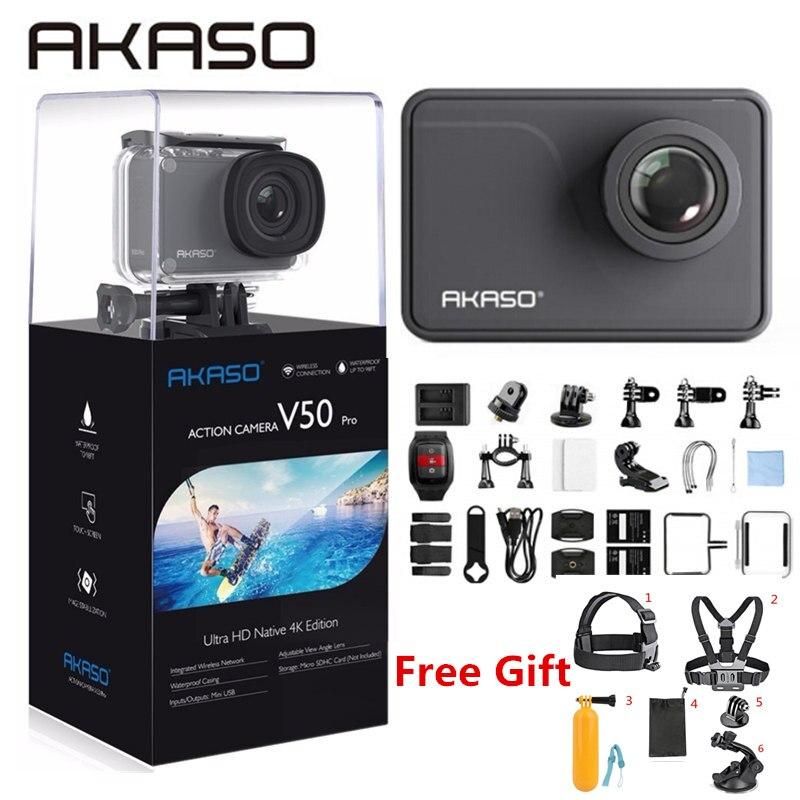 AKASO V50 Pro natif 4 K/30fps 20MP WiFi caméra d'action 4 K avec écran tactile EIS Angle de vue réglable 30 m caméra étanche