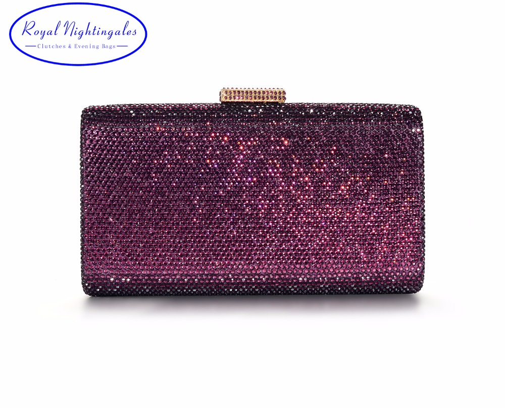 RN Large Size Womens Crystal Box Hard Box Evening Clutch Bag and Evening Bags for Party Prom Evening Black/Purple/Navy Blue fawziya bird clutch bags for womens evening bag hard case rhinestone