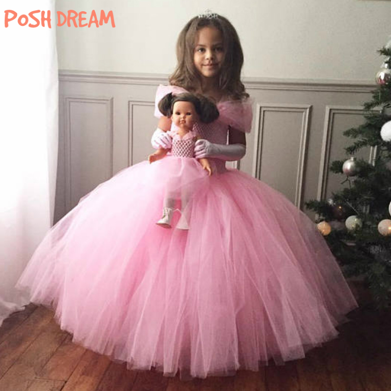 POSH DREAM Pink Princess Kids Girls Tutu Dresses Tulle Straps Butterfly Flower Children Princess Children Dresses Kids Clothes