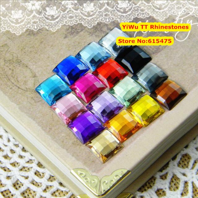 1,000 unids/bolsa 12*12mm la Parte Posterior Plana de Forma Cuadrada Rhinestones de Acrílico, Plástico Acrílico 3D Nail Art/Confección/joyería de diamantes de Imitación