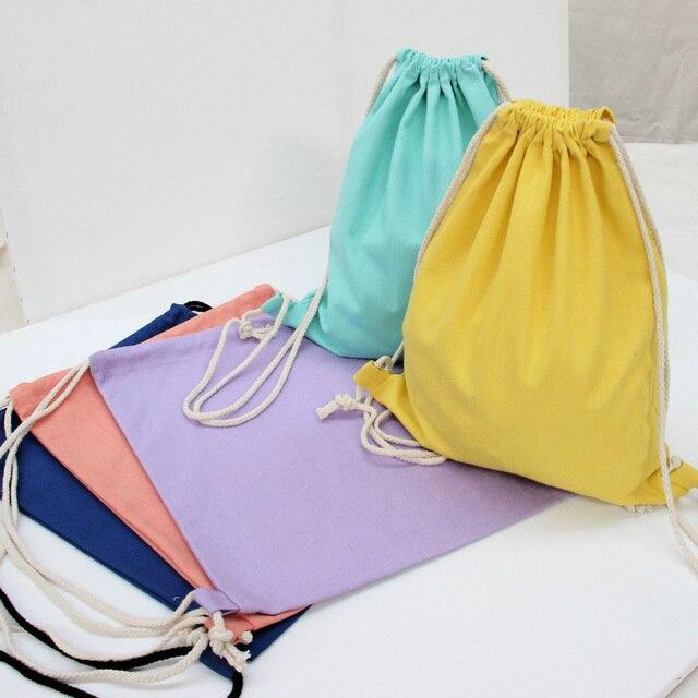 45a8fb44c Newest Blank plain Canvas Backpack women String Beach Bag men Travel  shoulder bags canvas rucksack pack bag mochila feminina