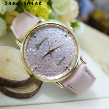 snowshine 10xin font b Luxury b font Women Flowerlet Faux Leather Analog Quartz Watch free shipping