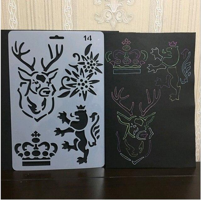 eno greeting plastic stencil art sheet elk deer stencil royal lion