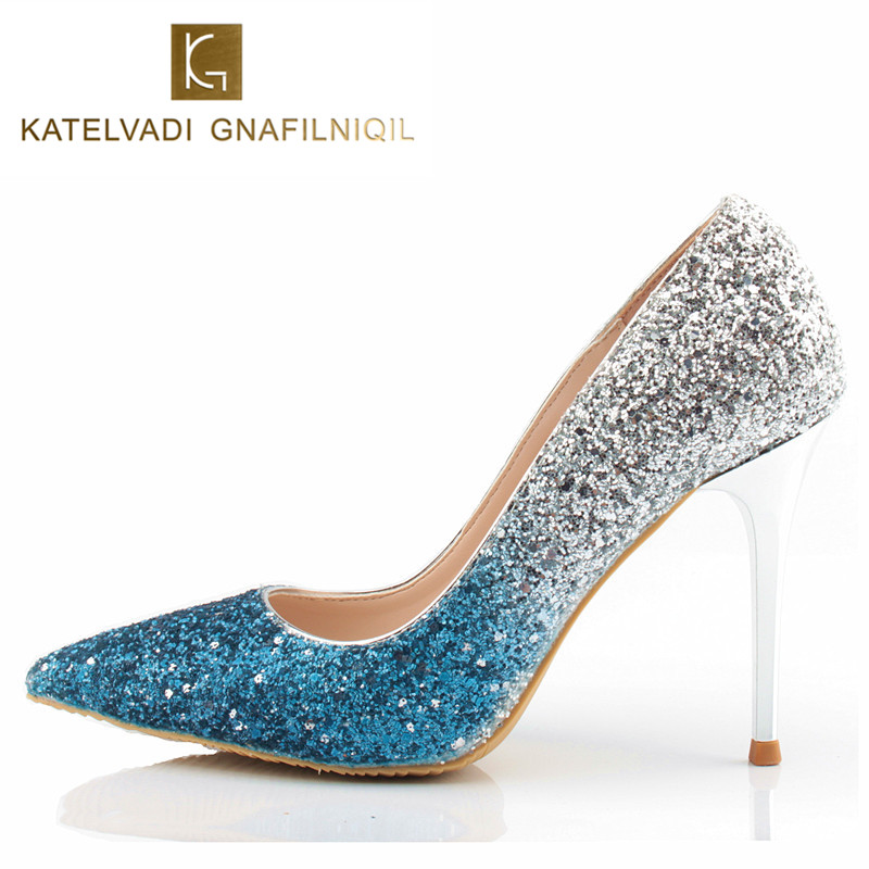 Bride Shoes Women Luxury Silver Blue Party Shoes Sexy High Heel Shoes Woman 10CM Heels Glitter Pumps Fashion Women Heels K-043 new 2018 women pumps party bling high heels gold silver fashion glitter heels women shoes sexy wedding shoes