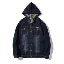 Streetwear hombres Hip Hop de algodón con capucha chaqueta de Denim de  motocicleta de moda de los hombres negro casual chaqueta . e9c6e32c6ac