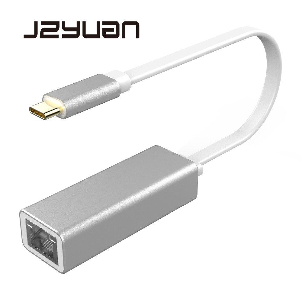 JZYuan USB C Ethernet Adapter Network Card USB-C to Ethernet RJ45 Lan for MacBook Windows 7/8/10 Type C Ethernet 10/100/1000Mbps