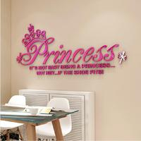 New DIY 3D stereos crystal Romantic decorative wall sticker Crown Princess Acrylic cartoon girl bedroom wall stickers Decals