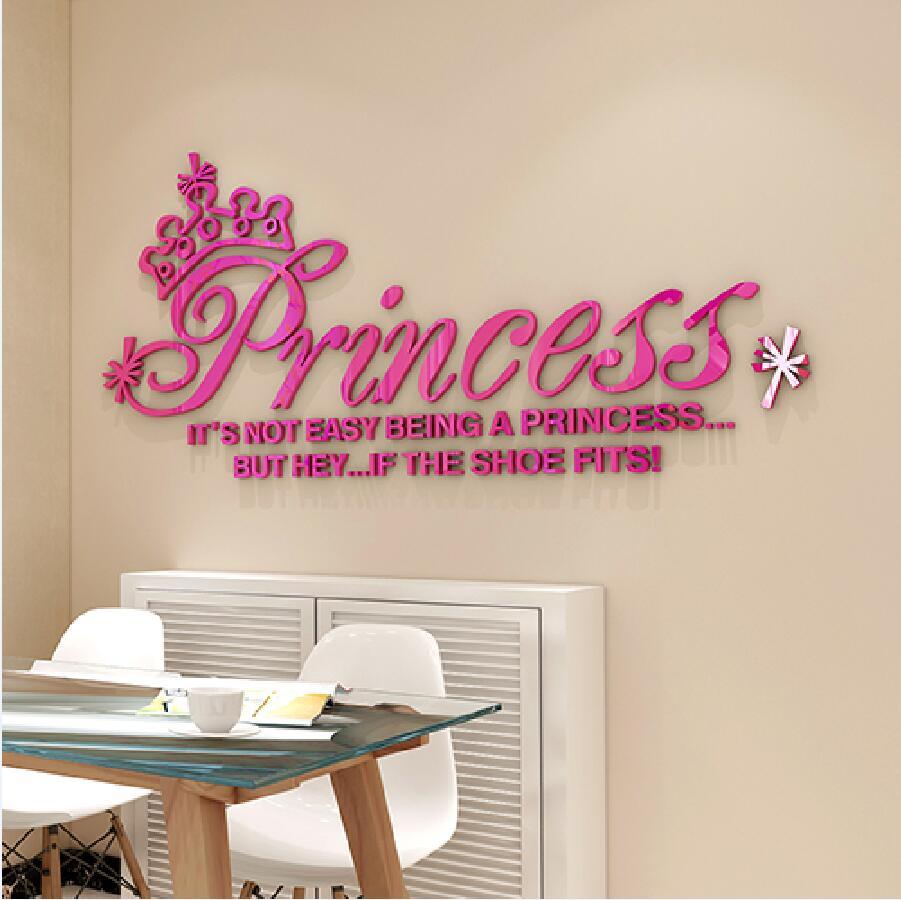 Nouveau bricolage 3D stéréo cristal romantique décoratif sticker mural couronne princesse acrylique dessin animé fille chambre stickers muraux