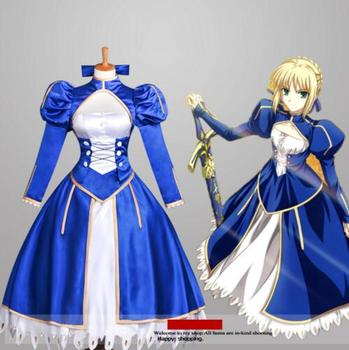 Disfraces Fate zero Costume Fate stay night saber cosplay costume for girls anime clothes gothic fancy dresses Custom made