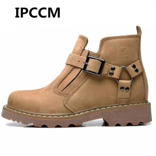 IPCCM 2018 Fashion High Top Men Boots Metal Belt Buckle Genuine Leather Cowhide Solid Color Round Head Casual Boots Size 39-44 santic 2018 pro racing team cycling sets short sleeve bicycle jersey maillot ropa ciclismo breathable mountain bike clothing