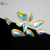QIAO Crystal AB Color Sew On Rhinestone Spacer Buttons For Garment Jewelry
