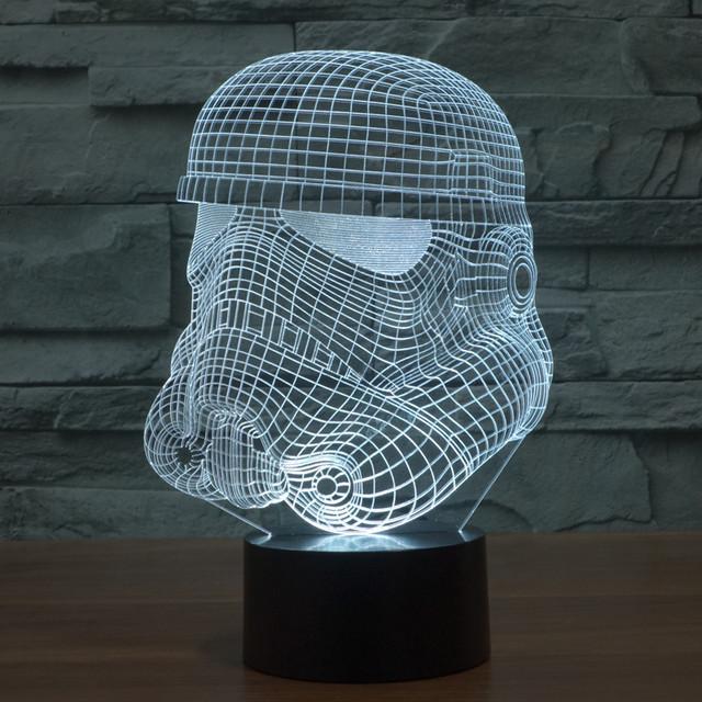 Creativo 3d ilusión de noche led lámpara de luz estrella guerra caballero blanco de acrílico colorido gradiente lámpara atmósfera novelty luz iy803335