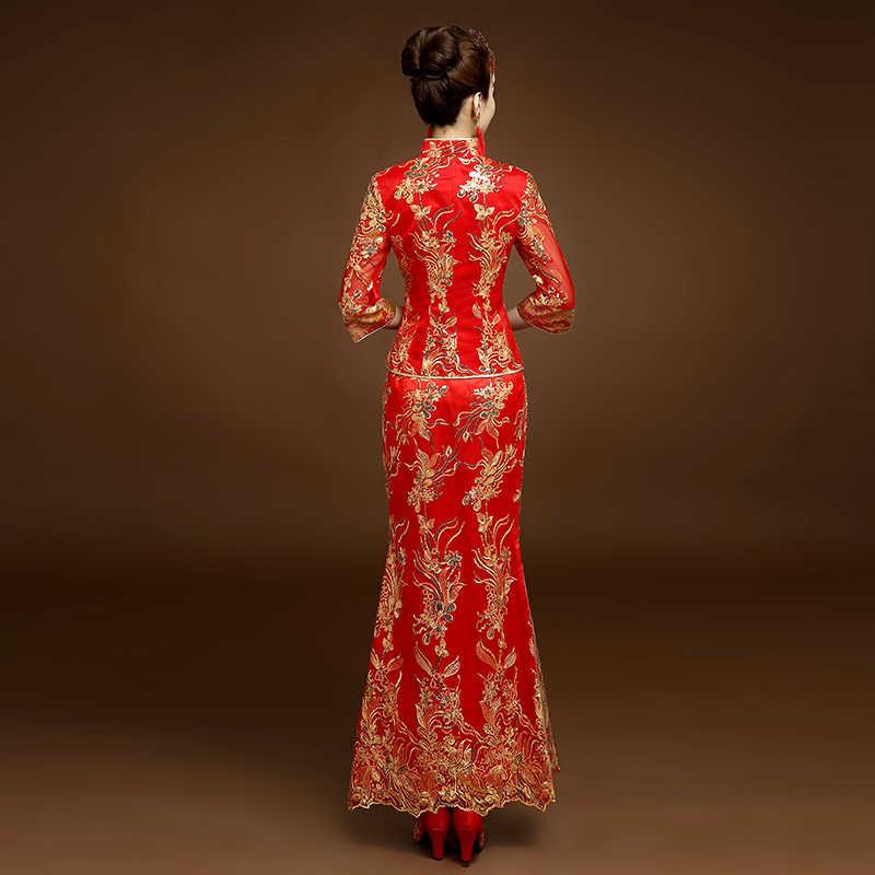אדום מסורתי סיני סגנון הכלה שמלות כלה רקמת cheongsam שמלת robe המפלגה שמלת ערב להתחתן Qipao Vestido S-XXL