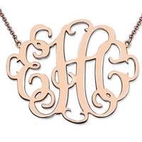 1.68 inch Stylish Monogram Necklace Rose Gold Color Personalized Initial Jewelry Large Size XL Class Monogram Birthday Gift