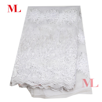 M&L 5yard Nigerian 2018High Quality african lace fabric French lace fabric rhinestones embroidery cwhite lace lowest price tj009