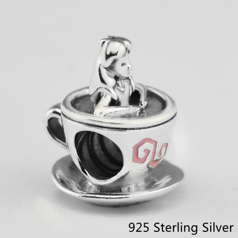 0328fb8a1 CKK Authentic 925 Sterling Silver Jewelry Alice in Wonderland Teacup F