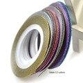 12 Rollos/Set 1mm Laser 12 Colores Glitter Striping Line Tape Nail Art Tips Adhesivos Decoración de La Belleza de Nail Art DIY NC392