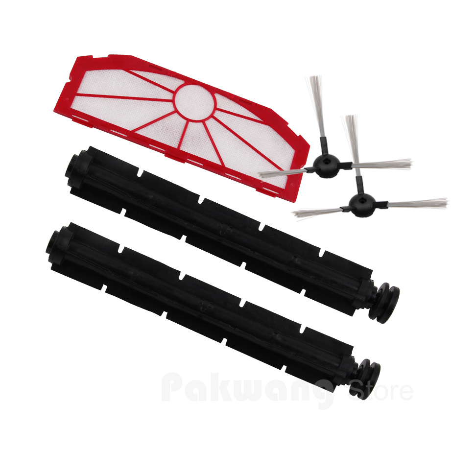 (For XR510) Parts for Robot Cleaner, Including Side Brush x 2pcs + Rubber Brush x 2pcs  Filter 1PC for x500 spare parts pack for vacuum cleaning robot including side brush x 4pcs primary filter x 2pcs hepa filter x 2pcs