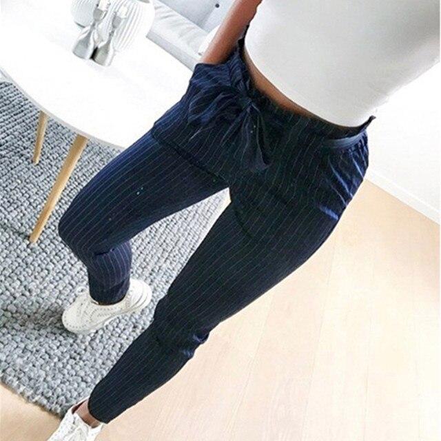 2018 Harajuku New Striped OL Chiffon High Waist Harem Pants Women Befree Summer Style Casual Pants Plus Size 3XL Female Trousers