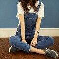 Джинсовые комбинезоны женские Корейские приливные ремень BF Harajuku стиль мешковатые джинсы брюки шаровары подтяжки Комбинезоны женщин A0195