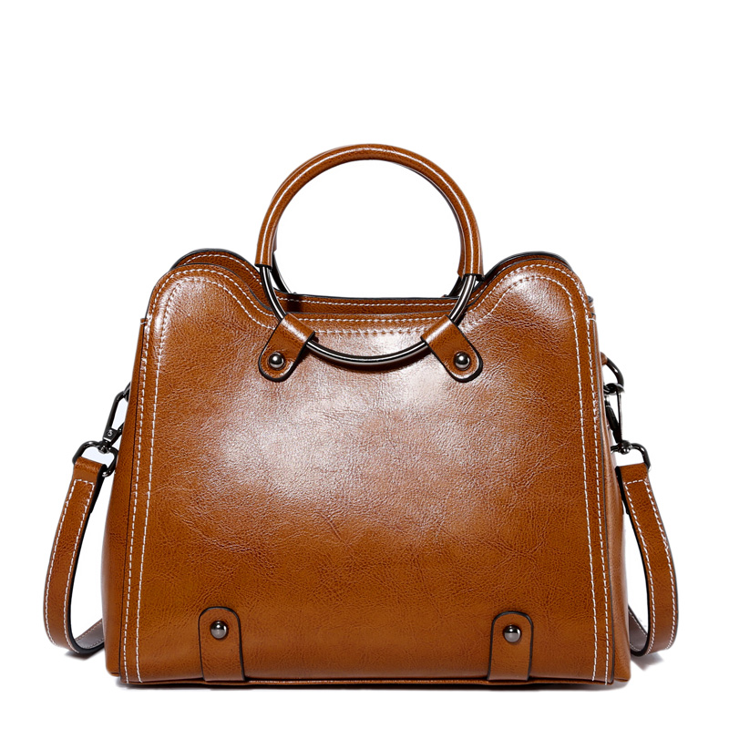 Women Handbag Genuine Leather 2018 Designer Handbags Oil wax Ladies High Quality Shoulder Bags Women Hand Bag Female Sac a Main