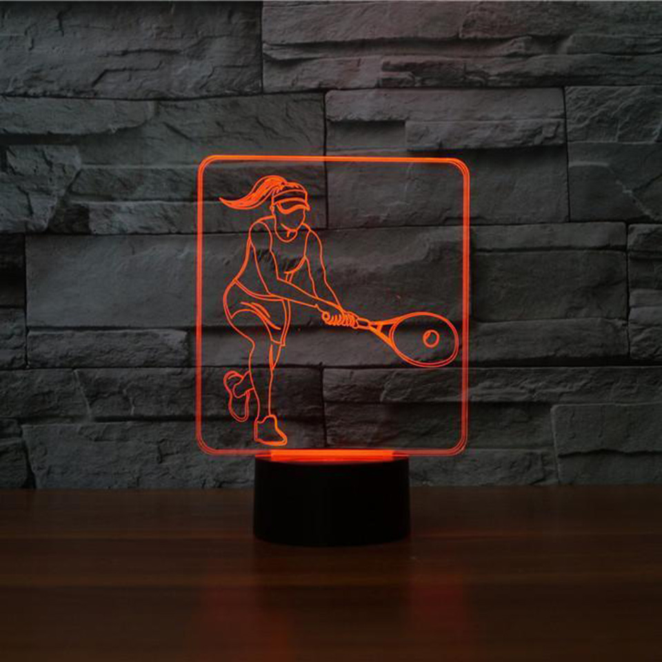 100% Quality Creative Led Night Lights Desk Lamp 7 Colors Changing 3d Usb Tennis Female Players Shape Lighting Fixtures Decor Sport Fans Gift Choice Materials