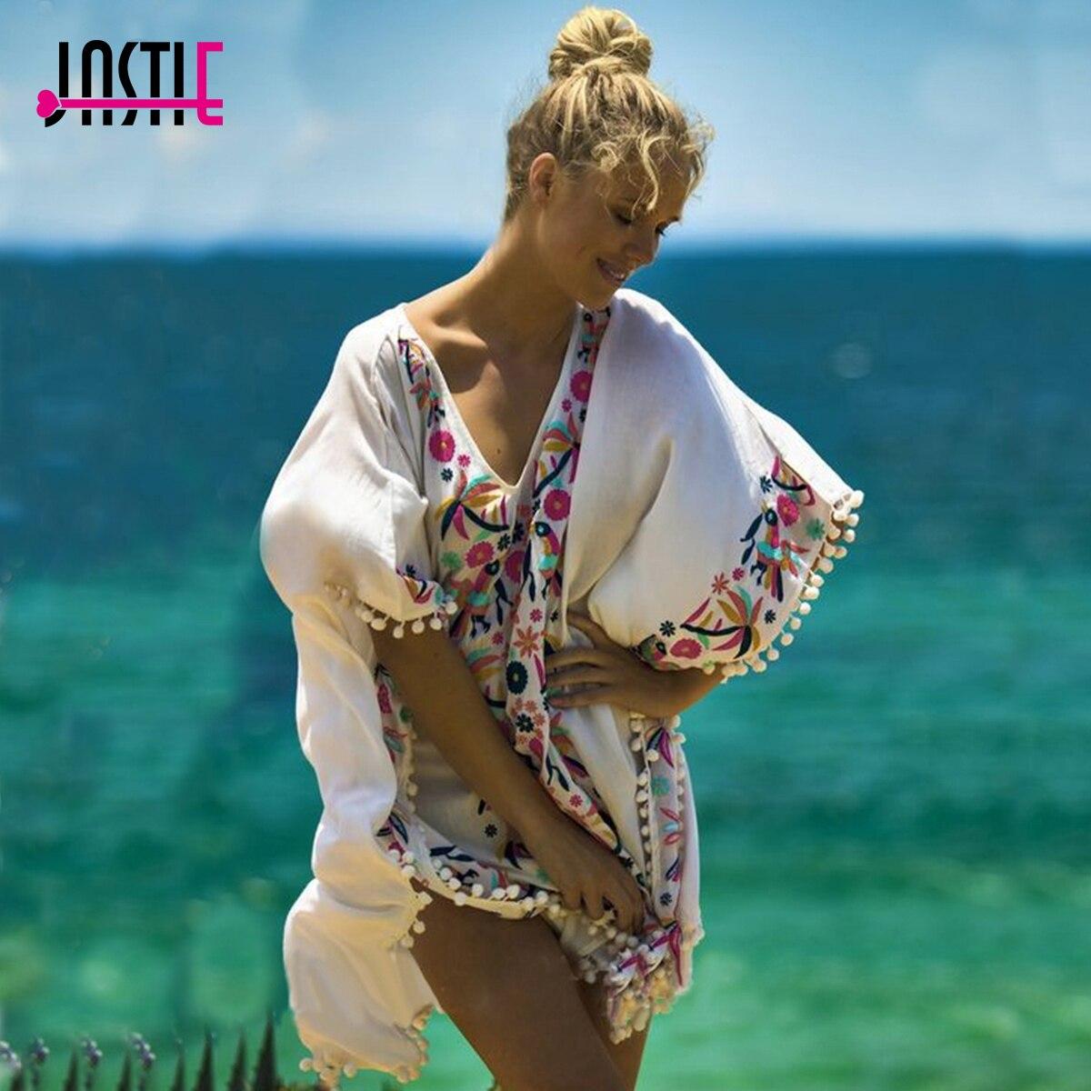 Jastie V-Neck Floral Embroidered Caftan Dress Summer Beach Vestidos Batwing Sleeve High-Low Hem Boho Loose Women Dresses floral v neck high low dress