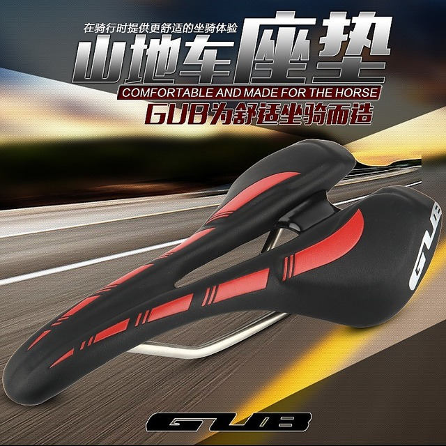 Free Shipping GUB Bicycle Saddle Bike Seat Men Cycling Cushion Mountain Bike Steel Rail Sillin Cojines Hollow Design Bike Saddle