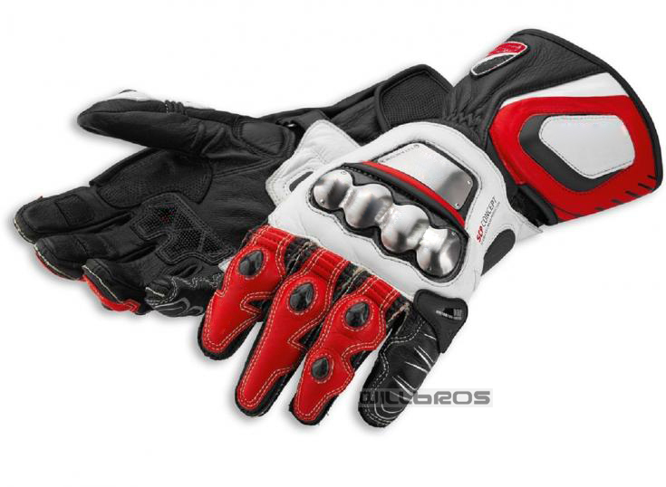 Dain Leather Gloves Full Metal RS Corse Moto Motorcycle Bike Racing Riding White Red Gloves