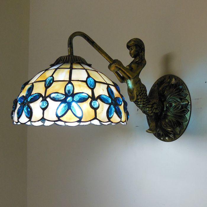 Mediterranean Sea Mermaid Wall Lamp Tiffany Lilac Shell Wall Sconce