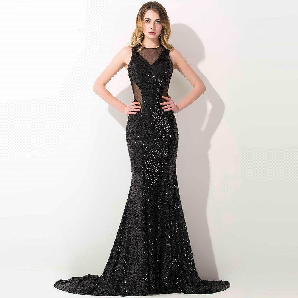 Cheap black mermaid prom dresses