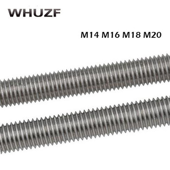 цена на Threaded rod M14/16/18/20*250mm 1pc 304 stainless steel thread bar,threaded rod nuts and bolts,threaded bar bolts and nuts