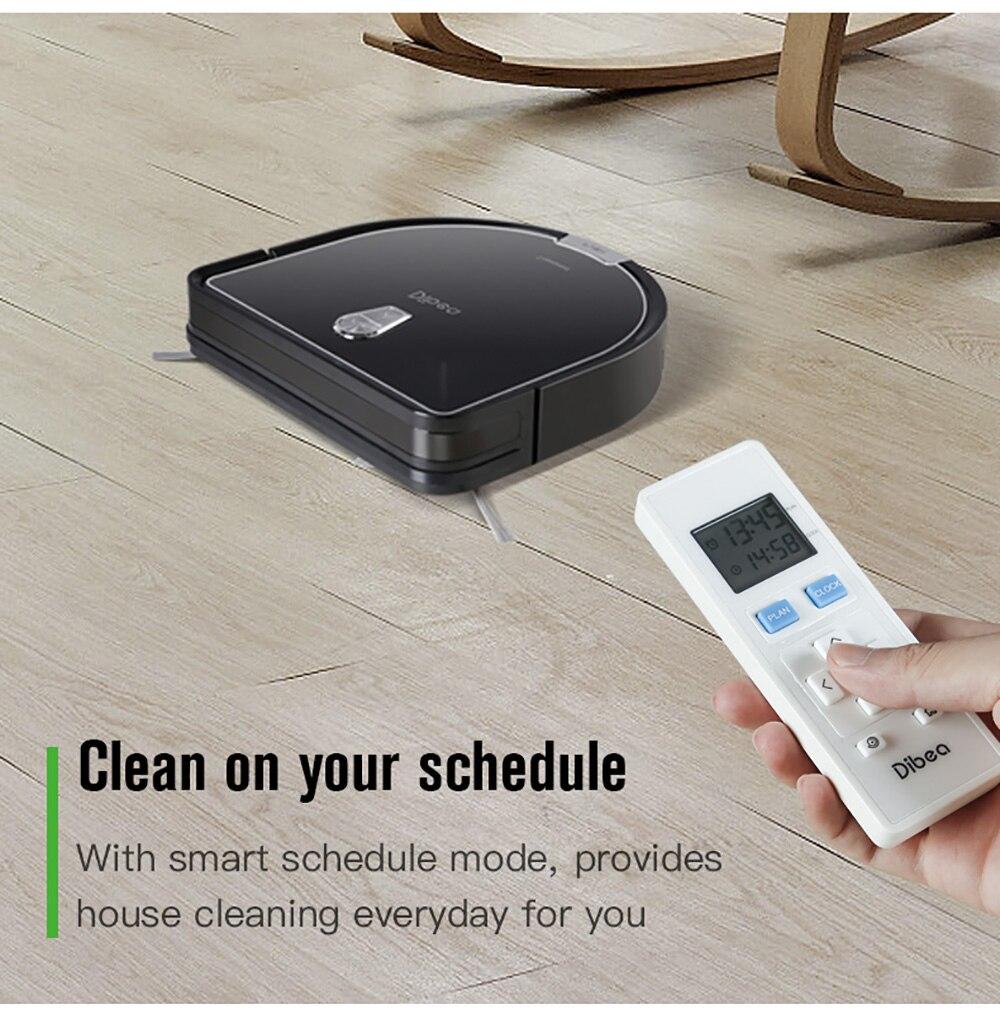 Dibea D960 Robot aspirateur intelligent avec aspirateur Robot de nettoyage humide avec technologie de nettoyage des bords pour les tapis minces de poils d'animaux - 5