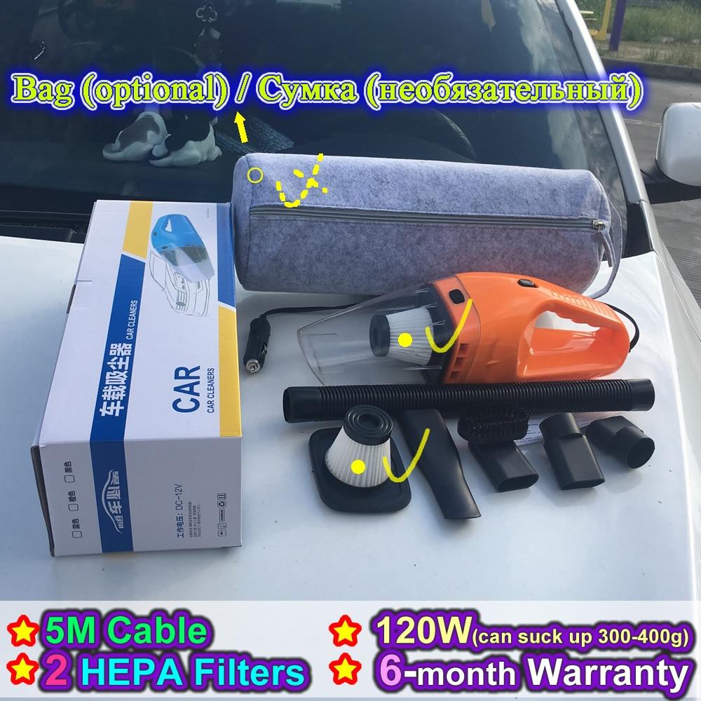 (Bag Option, 2 HEPA-Filter) 2017 NEUE Tragbare Auto-staubsauger Nass und Trocken Mit Doppeltem verwendungszweck Supersaugen 120 Watt auto Staubsauger