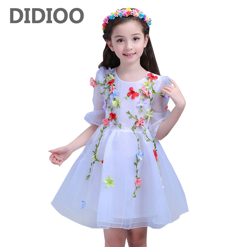 Mesh Dresses for Girls Kids Summer Flowers Dresses Children Party Wedding Clothes Princess Dress 2 8 9 12 Years Girls Dress Gift kids girls dresses for party and wedding 2016 summer lace flowers princess dress for girls clothes vestido pink yellow green