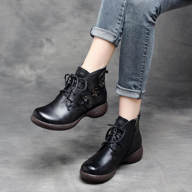 Women Black Genuine Leather Ankle Boots Flower Winter Women Shoes 5 CM Heels Lace Up Brand Women Boots Soft Leather Handmade цена